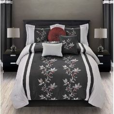 Amazon.com: Mia Embroidered Queen Size 7 Piece Bedding Set: Home & Kitchen