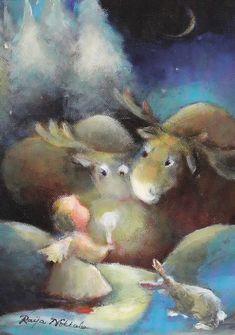 """Kohtaaminen"" by Raija Nokkala Christmas Angels, Christmas Greetings, Cemetery Statues, Winter Illustration, Angel Art, Funny Art, Cute Art, Drawings, Painting"