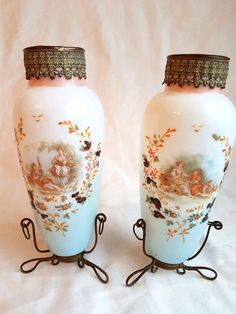 2x French Opaline Glass Vases - Partially Enamelled & Partially Tranferprinted