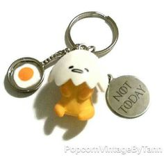 Kawaii GUDETAMA Keychain Lazy Egg Key Chain Tired Egg Key Ring, NOT... ❤ liked on Polyvore featuring accessories, keychain key ring, key chain rings, animal key chains, fob key chain and ring key chain