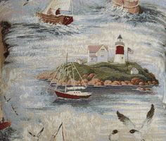 Ocean Sailboat Lighthouse Fabric TAPESTRY by NsewFabrics on Etsy