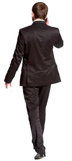 cutout man walking back phone
