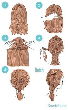 cabelo preso em etapas