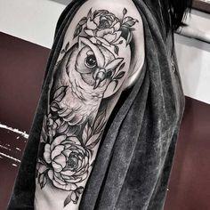 coruja trabalha no braço
