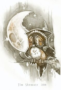 An owl gets a bellyache after chewing on the moon in this illustration by Tim Shumate « « Mayhem & Muse Red Dragon Tattoo, Moon Sun Tattoo, Owl Wings, Good Night Moon, Owl City, Bird Artwork, Cute Owl, Art Journal Inspiration, Photo Illustration
