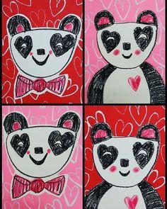 Valentine's Day art for kids. Heart panda.