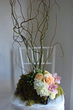 Peach Centerpiece Samples – Tall and Low- perfect color combo of pink and peach