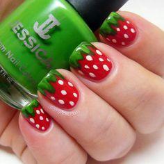 Watermelon Nail Art cute nails red green nail pretty pretty nails nail art watermelon nail ideas nail designs look like strawberries 2 me Cute Nail Art, Nail Art Diy, Easy Nail Art, Diy Nails, Strawberry Nail Art, Watermelon Nail Art, Strawberry Summer, Summer Fruit, Simple Nail Art Designs
