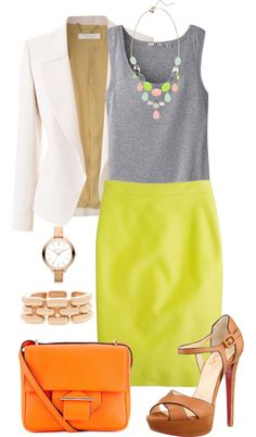 "White, Gray, Orange, Gold, Lime Green / Yellow Outfit ""Neon Skirt for Work"" by meredithinbloom on Polyvore"
