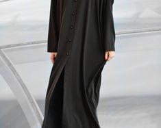 Black Plus Size Kaftan Dress, Women Comfortable Loose Dress, Oversize Summer Maxi Caftan, Modest Muslim Islamic Clothing - KA0331PLV