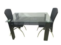 SIGNATURE 1+4 metal dining sets made with high quality of metal  and pu  .it is best suitable for  BLACK & WHITE INTERIOR CONCEPTS .  Woodys modern furniture is the best choice for dining room furniture in Mumbai  . our mumbai showroom have all live product for glance .  DIMENSION  table  length : 51inch width  : 31.5inch height : 30inch  MATERIAL  table :top 10 mm tempered glass / compressed wood with deco paint   chair :metal & pu .