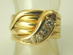Antique Victorian Snake ring diamond 18ct gold 1880s