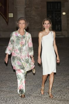 Reception at Almudaina Palace, Palma de Mallorca, Spain, August 7, 2014-Queen Sofia and Queen Letizia