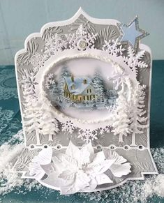 Best 12 What beautiful work! Chrismas Cards, Christmas Scenes, Christmas Cards To Make, Xmas Cards, Handmade Christmas, Christmas Crafts, Christmas Decorations, 3d Cards, Pop Up Cards