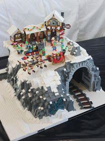 Les Lego de Ludo: Village de Noel (Module - New Ideas Village Lego, Lego Christmas Village, Lego Winter Village, Lego Basic, Train Lego, Lego Trains, Lego Display, Lego Design, Lego Technic