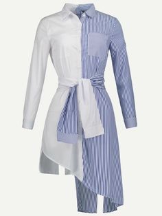 SheIn offers Contrast Striped Asymmetric Hem Shirt Dress & more to fit your fashionable needs. Look Fashion, Womens Fashion, Fashion Design, Casual Dresses, Fashion Dresses, Camisa Formal, Vetement Fashion, Mode Style, Chic Outfits