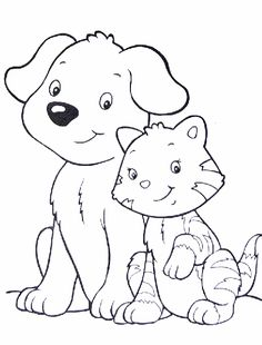 Cat and Dog Coloring Page. Cat and Dog Coloring Page. Dog and Cat Coloring Pages Dog Coloring Page, Cute Coloring Pages, Animal Coloring Pages, Coloring Books, Colouring, Coloring Sheets For Kids, Kids Coloring, Dogs And Kids, Cute Cats And Dogs