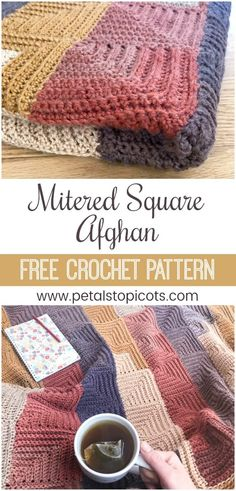The Continuous Mitered Square Crochet Afghan Pattern has the charm of patchwork squares but is worked continuously so there is no fastening off after each square leaving you with a zillion ends to weave in . And the self striping yarn does all the Motifs Granny Square, Crochet Squares Afghan, Granny Square Crochet Pattern, Afghan Crochet Patterns, Crochet Afghans, Blanket Crochet, Granny Squares, Crochet Lion, Crochet Owls