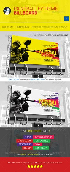Paintball Extreme  Billboard — Photoshop PSD #paintball #club • Available here → https://graphicriver.net/item/paintball-extreme-billboard/5292034?ref=pxcr