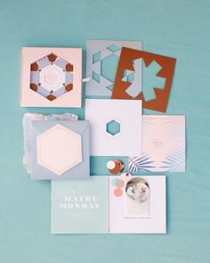 Inspired by kaleidoscopes, stationer Cheree Berry designed this suite for a Palm Springs wedding in February that came in a box full of die-cut, foil-stamped papers that relayed all the relevant information in cool shades of winter pastels. Wedding Stationery Trends, Spring Wedding Invitations, Wedding Stationary, Stationery Design, Wedding Boxes, Wedding Paper, Wedding Day, Wedding Tips, Dream Wedding