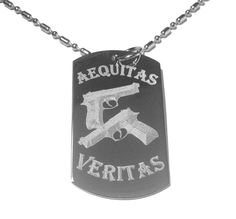 Aequitas Veritas Saints Prayer GUN Design Logo Symbol - Military Dog Tag, Luggage Tag Metal Chain Necklace *** You can find out more details at the link of the image.