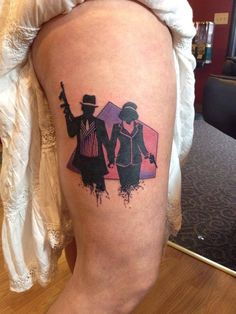 What does bonnie and clyde tattoo mean? We have bonnie and clyde tattoo ideas, designs, symbolism and we explain the meaning behind the tattoo. Movie Tattoos, Bad Tattoos, Future Tattoos, Tattoos For Guys, Sleeve Tattoos, Tattoos For Women, Goth Tattoo, Skull Tattoos, Tattoo Art