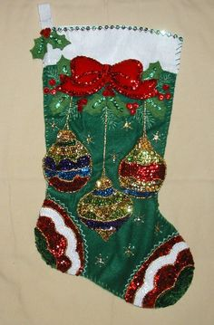 Bucilla Jeweled Ornaments Felt Stocking Kit by SCMShoppingSpree Cross Stitch Christmas Stockings, Christmas Stocking Pattern, Christmas Embroidery Patterns, Felt Stocking Kit, Diy Stockings, Felt Christmas Decorations, Holiday Decor, Christmas Crafts, Christmas Ornaments
