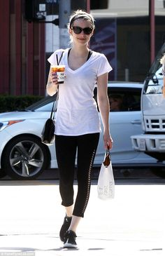 Vanilla nice: Emma Roberts looked in fine form as she supped on iced tea in Los Angeles on Thursday