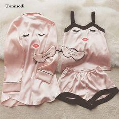 Silk Sexy Robe Summer Women Spaghetti Strap Sleepwear Women Lounge Silk Robes 3Picecs/Set Pajamas #Affiliate