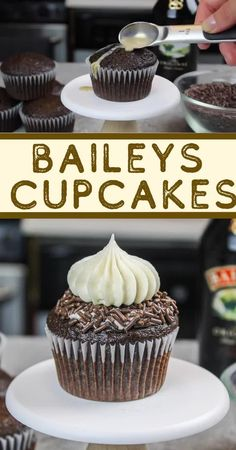 Baileys Cupcakes – Moist Cupcakes Topped with Baileys Frosting This recipe for Baileys cupcakes is absolutely packed with Baileys! It uses Baileys in the chocolate cupcake batter, in the drizzle and frosting! Moist Cupcakes, Yummy Cupcakes, Banana Cupcakes, Gourmet Cupcakes, Recipe For 6 Cupcakes, Choco Cupcake Recipe, Bailey Cupcakes, Unique Cupcake Recipes, Cute Cupcake Ideas