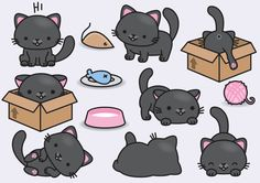 High quality vector clipart. Cute black cats vector clip art. Perfect for creating greeting cards,invitations and stationery, decorating your blog or website, designing posters and room decor for children or babies. Can be used for digital or print. Great for baby foom decor, gift