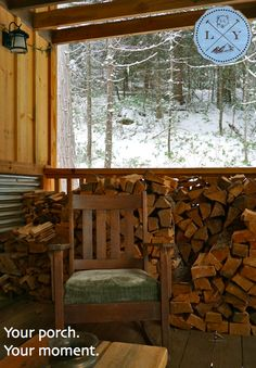 Spacious porches, a place to relax Hunting Cabin, Luxury Cabin, Open Up, Porches, Firewood, Relax, Rustic, Building, Design