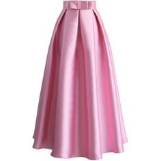 Chicwish Bowknot Pleated Full Maxi Skirt in Pink ($39) ❤ liked on Polyvore featuring skirts, pink, pleated a line skirt, pleated maxi skirt, long a line skirt, long skirts and floor length skirt