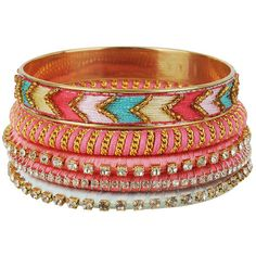 Threaded Bangle Set ($13) ❤ liked on Polyvore featuring jewelry, bracelets, accessories, pulseras, bangles, women, multi color sapphire bracelet, bangle bracelet set, hinged bangle and rhinestone bracelet