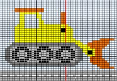 """Here is the Dozer chart I did for the construction sweater back. I changed it at the last minute and made """"dirt streaks"""" instead of the road. Did that on the fly, so there is no chart for the dirt! Just enlarge the sweater if you want it. 123 Cross Stitch, Cross Stitch Fruit, Cross Stitch Bird, Cross Stitch Charts, Cross Stitch Designs, Cross Stitching, Cross Stitch Embroidery, Cross Stitch Patterns, Boys Knitting Patterns Free"""