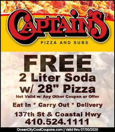 Eat in, carry out & delivery. And, save with your Pizza Coupons, Certificates Online, Ocean City Md, Best Hotel Deals, Eat Pizza, Maryland, Trip Advisor, Delivery, Cool Stuff