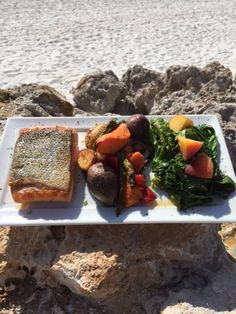 Pan Seared Filet of Mt. Cook Salmon Served with a Roasted Vegetable Blend and Organic Kale from our Our Own Gamble Creek Farm!