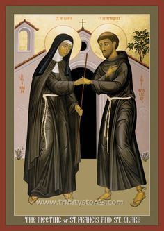Sts Francis and Clare of Assisi icon (Roman Catholic) Catholic Art, Catholic Saints, Patron Saints, Roman Catholic, Francis Of Assisi, St Francis, Religious Icons, Religious Art, San Francisco