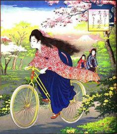 Japan: Woman riding bicycle in spring time  a japán művészetbe is becsempészve a bringa érzés