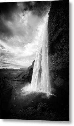 Waterfall in Iceland black and white Metal Print for sale. Fascinating Seljalandsfoss waterfall in Iceland, black and white photo with stark contrast. The image gets printed directly onto a sheet of aluminum. Metal prints are extremely durable and lightweight. The high gloss of the aluminum complements the rich colors of the image. Matthias Hauser - Art for your Home Decor and Interior Design.