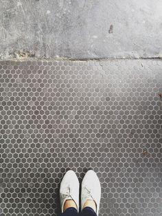 Mudroom ~ Bath ~ Grey Hex Floor Tiles