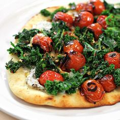 Flatbread Pizza with Goat Cheese, Sauteed Greens and Blistered Cherry ...