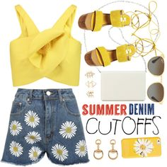 Summer Denim Cutoffs by ivansyd on Polyvore featuring moda, Delpozo, WearAll, Steve Madden, Nine West, Gucci, Charlotte Russe, Kate Spade, Ray-Ban and jeanshorts