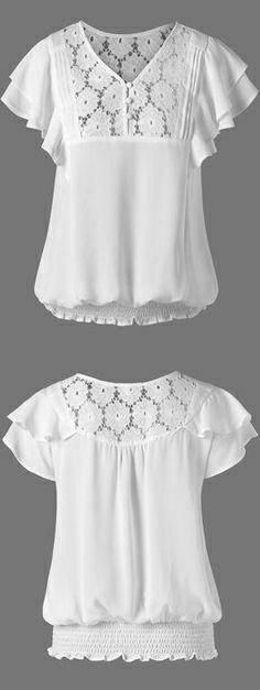 Blouses & Shirts For Women - Cute Lace White Blouses & Funny Plaid Shirts Fashion Sale Online Blouse Patterns, Blouse Designs, Sewing Patterns, Clothes Patterns, Fashion Sale, Womens Fashion, White Lace Blouse, White Blouses, Shirt Bluse