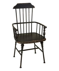 This Distressed Black Spindle Arm Chair is perfect! #zulilyfinds