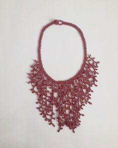 Pink Coral Necklace Choker by DahliasArtesania on Etsy