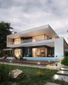 Best interiors of Studia 54 - portfolio Modern Exterior House Designs, Best Modern House Design, Modern House Facades, Modern Villa Design, House Design Photos, Modern Architecture House, Small House Design, Residential Architecture, Contemporary Design