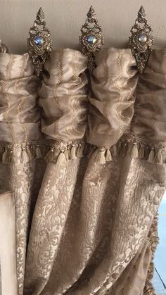 Luxurious Old World Window Treatments & Hardware - Der Vorhang Dining Room Curtains, Living Room Drapes, Curtains And Draperies, Window Treatments Living Room, Luxury Curtains, Home Curtains, Velvet Curtains, Window Curtains, Valances