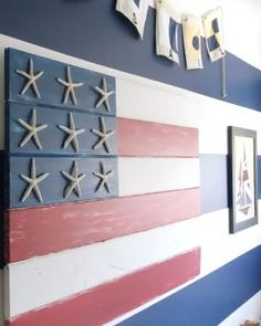 homemade coastal style wood flag    http://www.completely-coastal.com/2011/03/homemade-decorations-crafts.html#