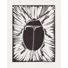 Beetle - Lino print by Lauren McGregor